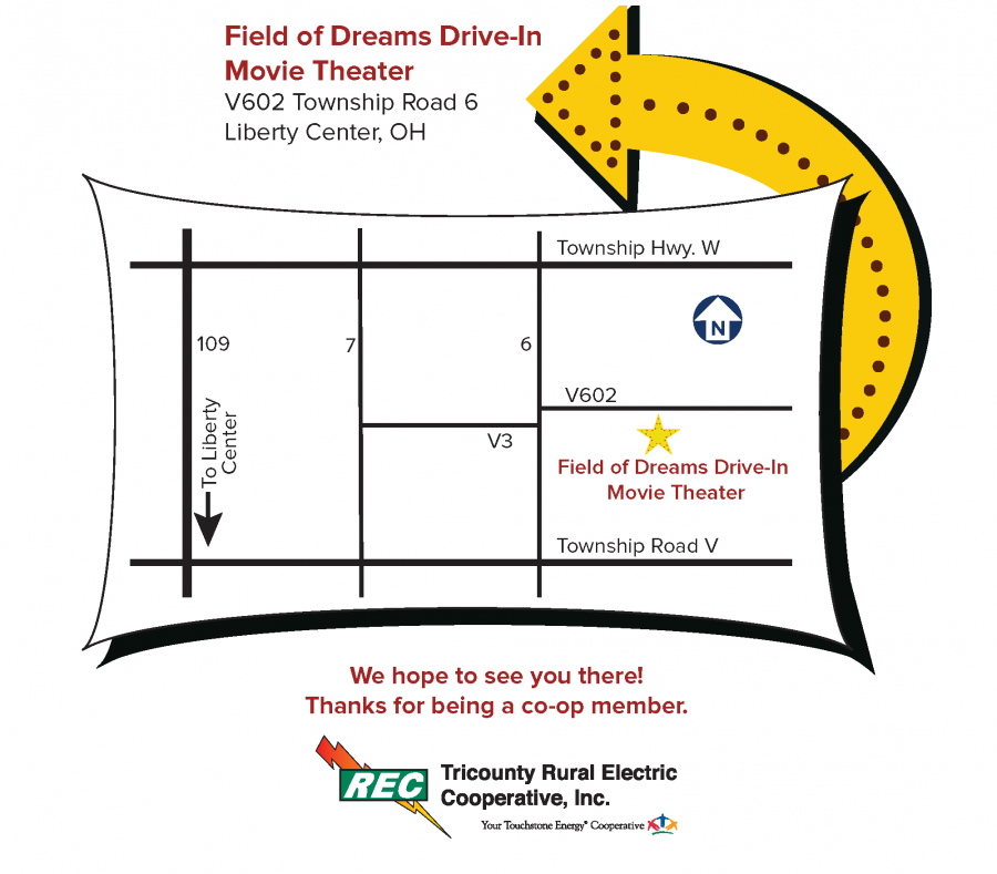 Field of Dreams Drive-In Theater map and directions for annual meeting
